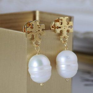 Tory Burch Fashion Simple Pearl Earrings
